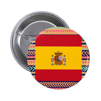 Colorful Spain Flag Box 2 Inch Round Button