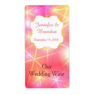 Colorful Sparkles Custom Wedding Mini Wine Label