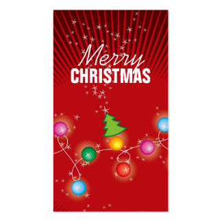 Colorful Sparkling Christmas Tree Lights Gift Tag Business Card