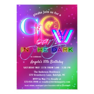Colorful Sparkling Glow in the Dark Birthday Invitation