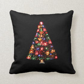 Colorful Sparkly Christmas Tree Throw Pillow