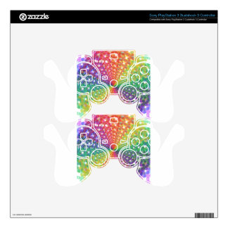 Colorful spectral background PS3 controller skin