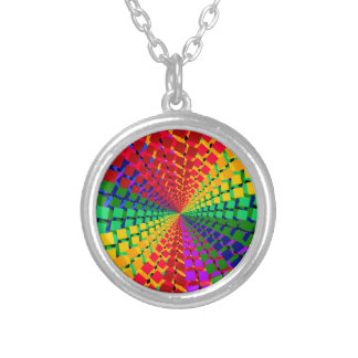 Colorful spectral background round pendant necklace