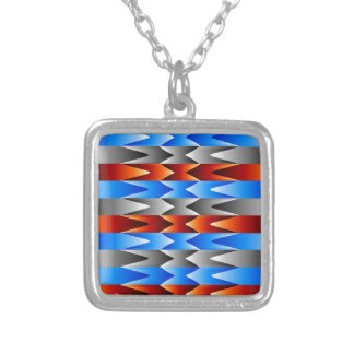 Colorful spectral background square pendant necklace