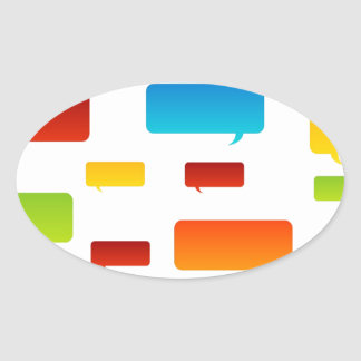 Colorful speech bubbles oval sticker