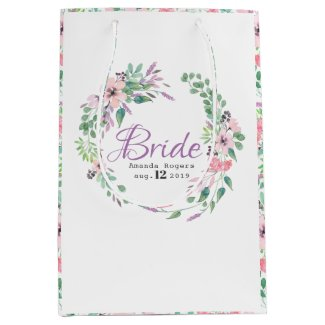 Colorful Spellbound Flowers Wreath- Bride Text