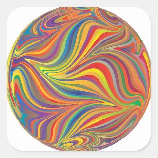 colorful sphere square sticker