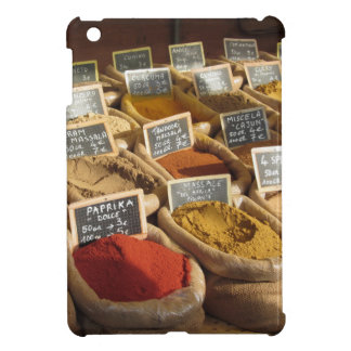 Colorful spices in jute bags at the local market iPad mini cover