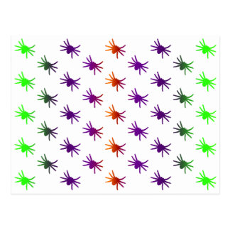 Colorful Spiders Pattern Postcard