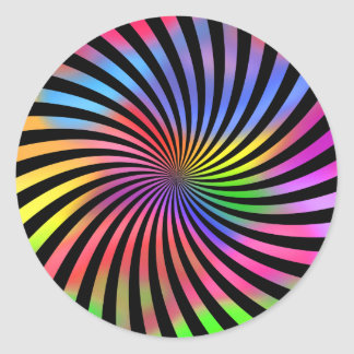 Colorful Spiral Design: Classic Round Sticker