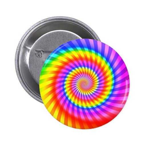 Colorful Spiral Design: Pinback Buttons