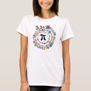 Colorful Spiral Of Digits Of Pi T-shirt at Zazzle
