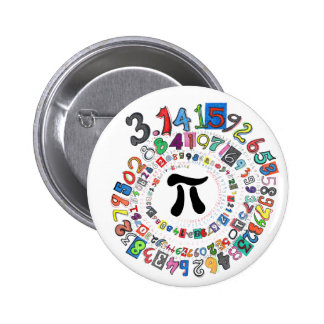 Colorful sPiral of Pi Calculated 2 Inch Round Button