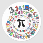 Colorful sPiral of Pi Calculated Classic Round Sticker