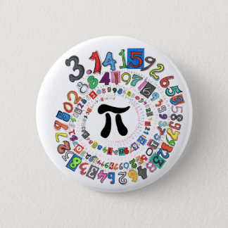 Colorful sPiral of Pi Calculated Pinback Button