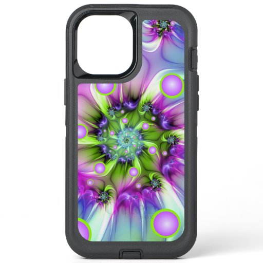 Colorful Spiral Round Shapes Abstract Fractal Art OtterBox Defender iPhone 12 Pro Max Case