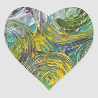 Colorful Spirals Abstract Painting Heart Sticker