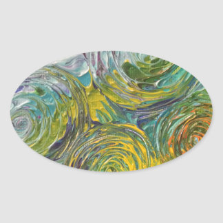 Colorful Spirals Abstract Painting Oval Sticker