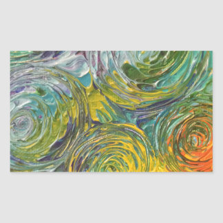 Colorful Spirals Abstract Painting Rectangular Sticker