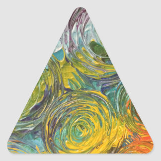 Colorful Spirals Abstract Painting Triangle Sticker