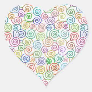 Colorful spirals pattern circles whirling fun art heart sticker