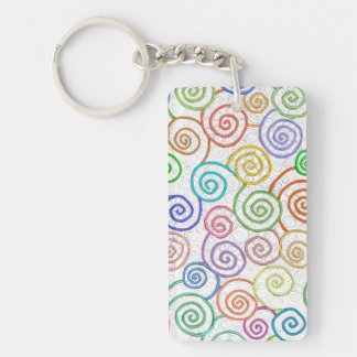 Colorful spirals pattern circles whirling fun art keychain