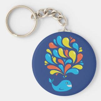 Colorful Splash Blue Happy Cartoon Whale Keychain