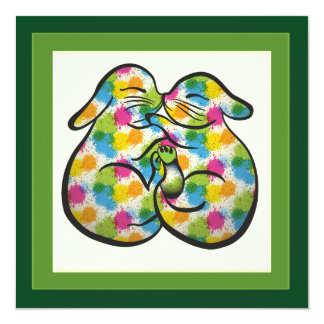 Colorful Splash – Bunnies Easter Postcard