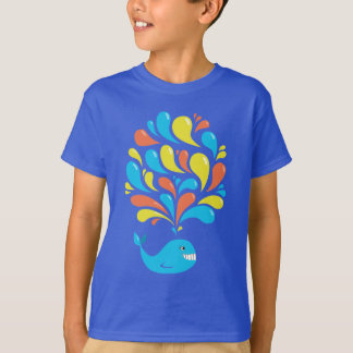Colorful Splash Happy Cartoon Whale Dark Kids T-Shirt