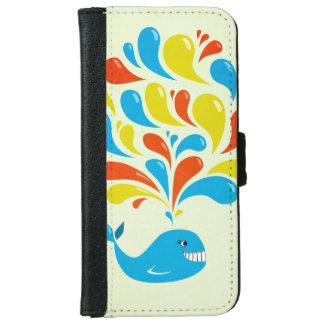 Colorful Splash Happy Cartoon Whale iPhone 6 Wallet Case
