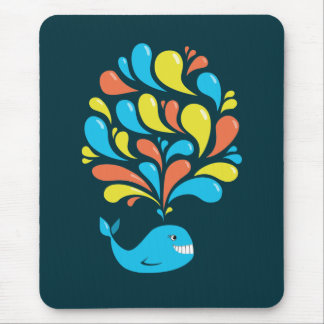 Colorful Splash Happy Cartoon Whale Mouse Pad