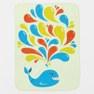 Colorful Splash Happy Cartoon Whale Receiving Blanket
