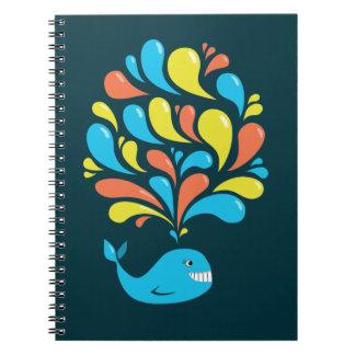 Colorful Splash Happy Cartoon Whale Spiral Notebook