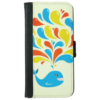 Colorful Splash Happy Cartoon Whale Wallet Phone Case For iPhone 6/6s