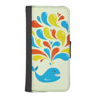 Colorful Splash Happy Cartoon Whale Wallet Phone Case For iPhone SE/5/5s