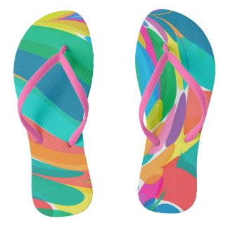 Colorful Splashes Pattern Flip Flops