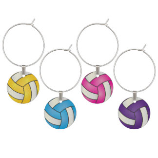 Colorful Sport Volleyballs Wine Charm