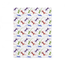 Colorful Spotted Gecko Lizards Fleece Blanket