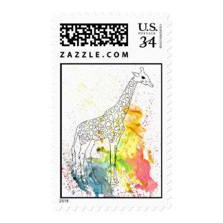 Colorful Spotty Giraffe (Kim Turnbull Art) Postage