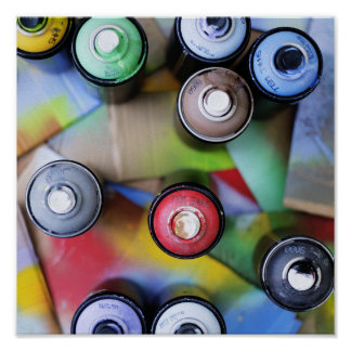 Colorful Spraycans Poster