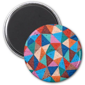 Colorful Sprayed Graffiti Triangles 2 Inch Round Magnet