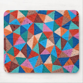 Colorful Sprayed Graffiti Triangles Mouse Pad