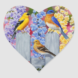 Colorful Spring Birds Garden Party Heart Sticker