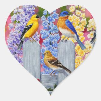 Colorful Spring Birds Garden Party Heart Sticker