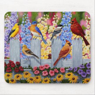 Colorful Spring Birds Garden Party Mouse Pad
