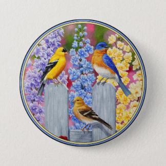 Colorful Spring Birds Garden Party Pinback Button