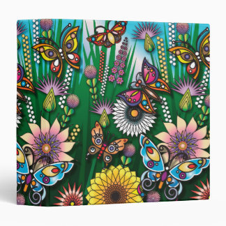 colorful spring butterfly garden vinyl binders