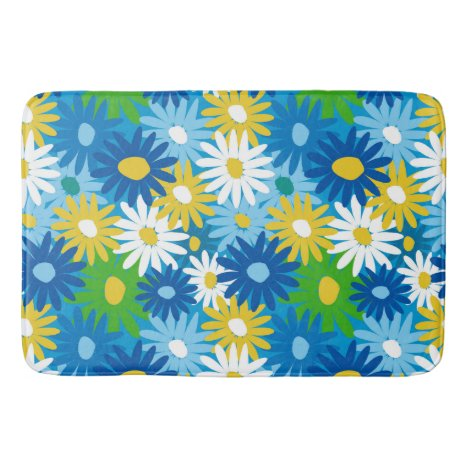 Colorful spring daisies bath mat