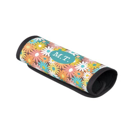Colorful spring daisies monogram luggage handle wrap