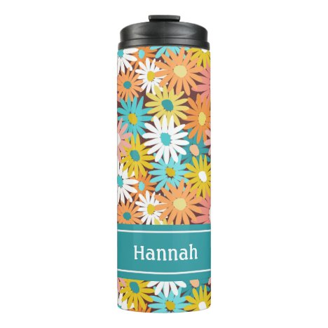 Colorful spring daisies personalised name thermal tumbler